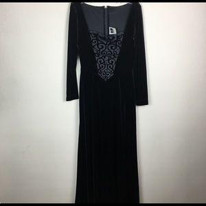 Tadashi Black velvet with floral bodice maxi gown